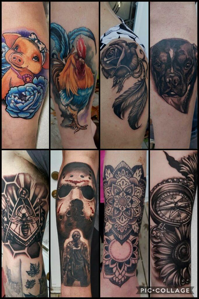Multiple tattoo Styles of tattoos